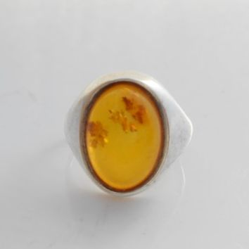 Amber Sterling Ring Size 7.5 Yellow Amber Sterling Silver