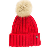 WOOLRICH  W's Serinity Hat Red Beanie with fur bobble - What's new