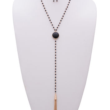 Adeline Gem Stone Y-Necklace and Earrings Set