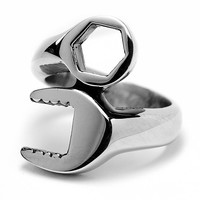 Oliveti Stainless Steel Combination Wrench Ring | Overstock.com Shopping - The Best Deals on Men's Rings