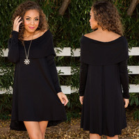 Summer Women's Fashion Long Sleeve Round-neck Plus Size One Piece Dress [6343438081]