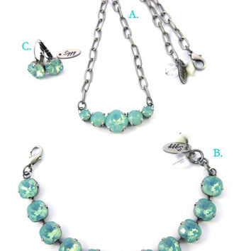 Swarovski crystal Pacific Opal jewelry set- Select coordination pieces- your choice, Sea foam green by Siggy Jewelry
