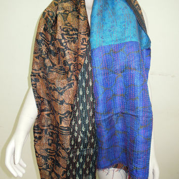 Wholesale Lot of 10pc Gorgeous Reversible Vintage Indian Silk Sari Kantha Stitch Quilt Scarf Shawl Hijab Dupatta Veil
