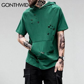 Ripped High Low Front Pocket Hoodie T-Shirt Men Hip Hop Distressed Holes Tops Tee Male Casual Cotton Curved Hem T shirt