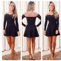 Stitching Lace Strapless Bodycon Long Sleeve Mini Dress