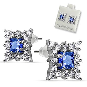 Pair of .925 Sterling Silver Multi CZ Around Square Sapphire CZ Stud Ear WildKlass Rings (Sold as a Pair)