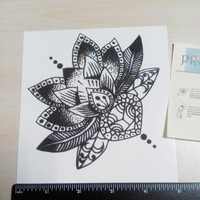 Mandala Temporary Tattoo  Ethnic Art  Mandala Large Temporary Tattoo Buddhism Black  Geometric Art lotus tattoo totem