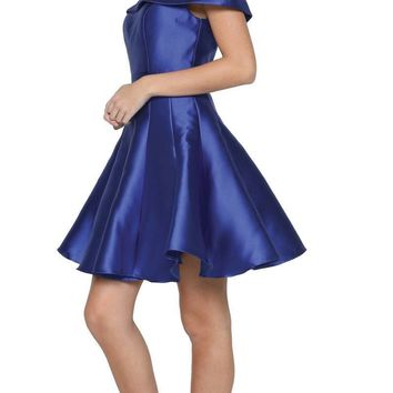 Royal Blue Off-the-Shoulder Homecoming Party Dress