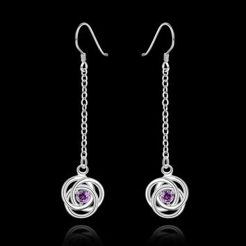 Mixed Color Crystal pendants 925 sterling silver earrings Exquisite Fashion Jewelry best gift Factory Direct