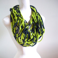 Lime Green Navy Blue Infinity Scarf Upcycled Winter Accessories Chartreuse Striped Cowl Scarf Boho Tribal Circle Scarf