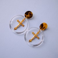 Divine Cross Hoop Earrings