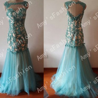 Turquoise Green Prom Dress,Mermaid Dress,Prom Dresses,Open Back Beaded Lace Applique Bodice Tulle Skirt Prom Dress,Mermaid Prom Dress