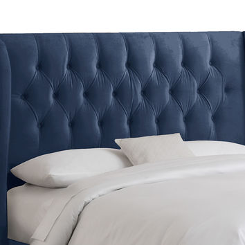 Parker Tufted Wingback Headboard, Navy, Headboards