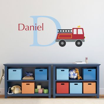 Firetruck Initial Name Wall Decal Set - Personalized Fire Truck Wall Decal - Boy Bedroom Wall Art - Large
