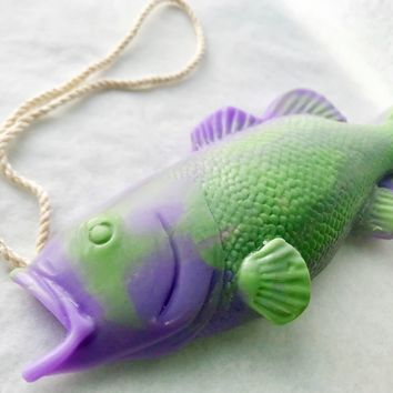 Purple Bass Soap on a Rope, Handmade Soap, Fishing Decor, Fathers Day Gifts, Mothers Day Gifts, Funny Gifts for Men, Gifts for Him, Fishing Gifts, Bass Fishing, Easter Basket Stuffers