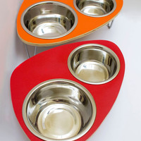 Raised feeder with double stainless steel bowls and by ModPet