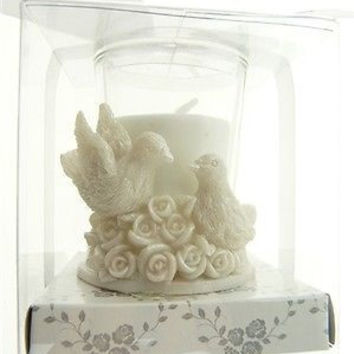 Wedding Bridal Shower Anniversary Party Favor Souvenir Gift Keepsake Ready Made, Votive Candle, Doves