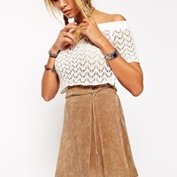 ASOS Wrap Skirt in Suede with Ties