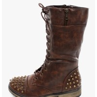 Brown Ali Girl Spiked Combat Boots | $13.50 | Cheap Trendy Boots Chic Discount Fashion for Women | M