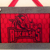 SALE Arkansas Razorback frame chicken wire photo jewelry bow organizer holder bulletin board crimson red, black stone grey flower flip flop