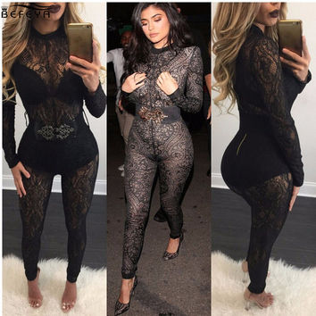 Hot Woman Sexy Kardashian Jumpsuit See Through Women Black Lace Jumpsuit Long Sleeve Club Party Bodysuit black bandage jumpsuit