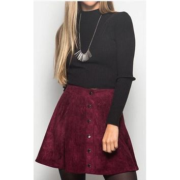 SUEDE MINI SKIRT WITH FRONT BUTTONS