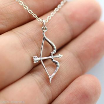 Luxury Tiny Bow Arrow Statement Pendant Necklace Women Silver Collar Sweater Chain Girl Bijoux Jewelry Gift Colar de Plate