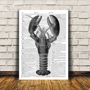 Nautical art Lobster poster Beach house decor Marine print RTA96