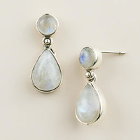 STERLING SILVER MOONSTONE DOUBLE DROP EARRINGS