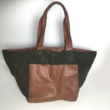 Eve women's cognac & olive distressed nappa oversized tote bag