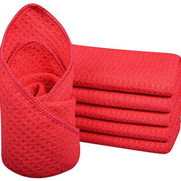 Sinland Microfiber Waffle Weave Dish Cloths Dishcloths Washcloths Facial Cloths Pack of 6 Amaranth13 Inch X 13 Inch