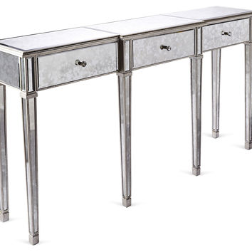 Asher Antiqued Mirrored Console, Silver, Console Table