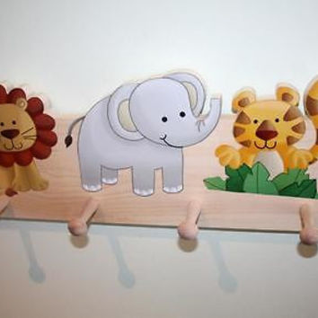 Jungle Animal Kids Wooden CLOTHES PEG Rack Bathroom Bedroom CR0016