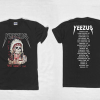 yeezus shirt yeezus tour shirt yeezus shirt kanye west tour tshirt double side clothing unisex size S,M,L,XL,XXL,and 3XL Black and white