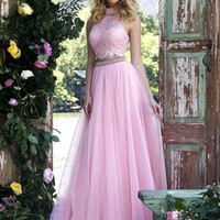 A-Line/Princess High Neck Sweep Train Tulle Prom Dress With Lace Beading Sequins