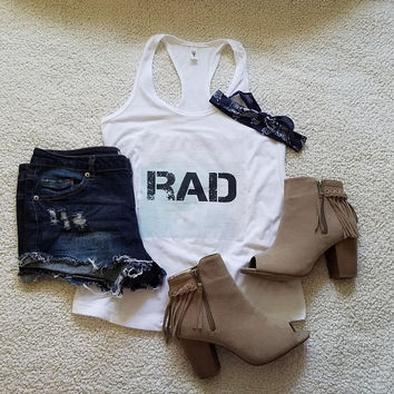 Rad graphic tank top for tween girls, teen girls, and ladies funny graphic shirt instagram tumblr gift