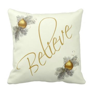 Modern Xmas, Believe (w/ ornaments) gold & cream Throw Pillows