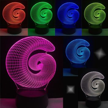 NEW Fibonacci Sequence Golden Ratio Color Changing USB-Powered 3D LED Night Light Desk Lamp