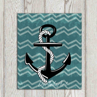Anchor printable Beach art print Teal Beach house decor Bathroom decor Sea wall art Nautical print Gift idea for him or her INSTANT DOWNLOAD