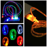 Luminous led light usb data sync charger cable for iphone 5 5s 6 6s 6 plus & Android Phones