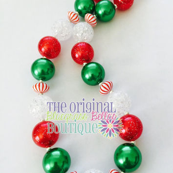 Christmas Necklace, Girls Chunky Necklace, Girls Bubblegum Chunky Necklace, Girls Chunky Bubble Gum Bead Necklace, Childrens Necklace