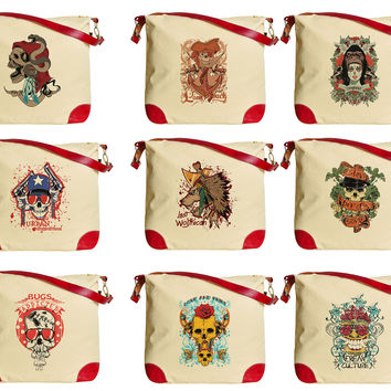 Ornament Skull  Printed Canvas Leather Trap Tote Shoulder Bag WAS_33