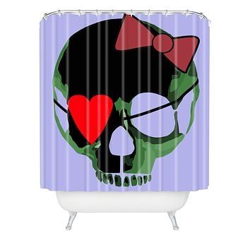 Amy Smith Green Skull with Bow Shower Curtain