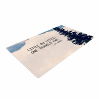 """Robin Dickinson """"Little By Little"""" Clouds Typography Woven Area Rug"""
