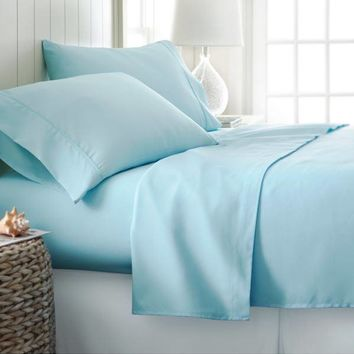 Sheets Set- 100% Soft Brushed Microfiber Bedding Deep Pocket  (King, Aqua) Home Collection -
