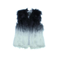 Guess Womens Faux Fur Colorblock Vest