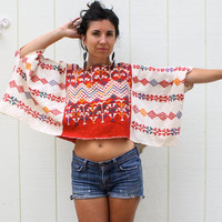 vintage dashiki crop top . bohemian tribal top