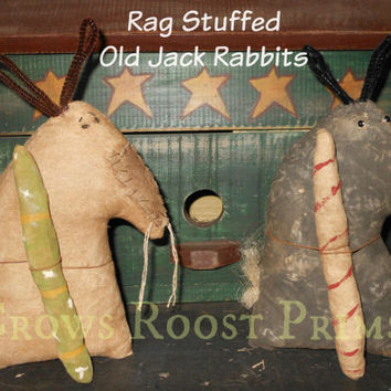 Primitive Rag stuffed Old Jack Bunny Rabbit doll Aged or Black