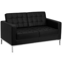 HERCULES Lacey Contemporary Black Leather Love Seat with Stainless Steel Frame