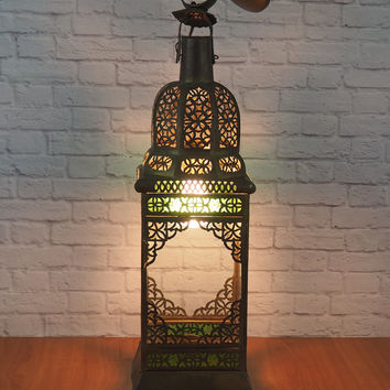 XLARGE Vintage Moroccan Lantern Hanging Light Fixture, Brass with Blue and Green Stained Glass, Bohemian Chic Home Decor